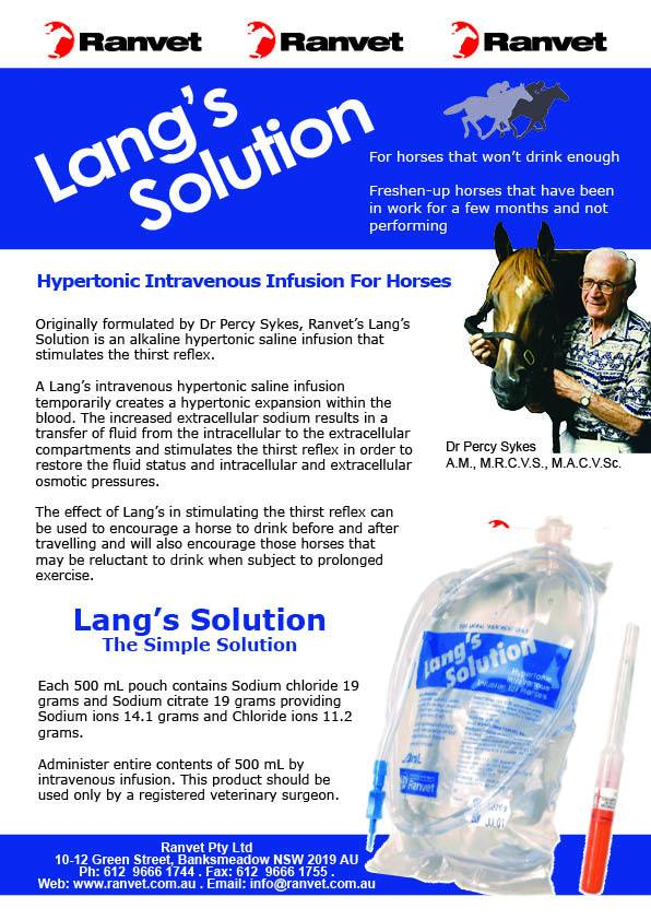 Hypertonic Intravenous Infusion for Horses